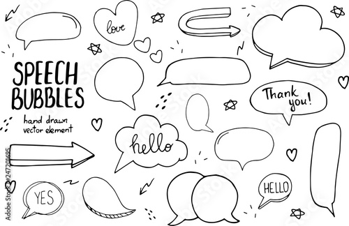 Hand drawn doodle speech bubbles set with accentuation, filled with example texts:  Yes!,Thank you, Hello, Love Wallpaper Mural