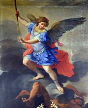 St Michael The Archangel, Altarpiece By Ludovico Gimignani In Chapel Of St Michael The Archangel, Basilica Di Sant Andrea Delle Fratte, Rome, Italy
