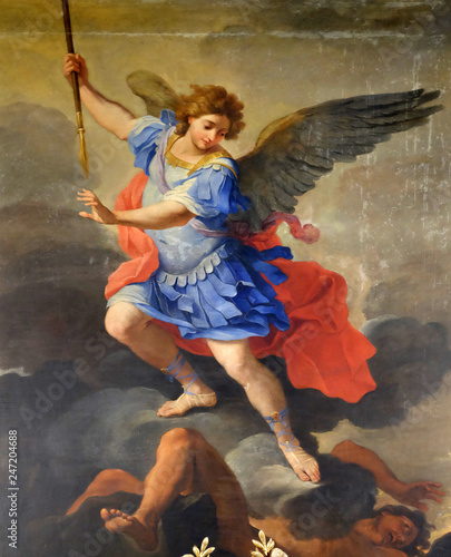 Canvas Print St Michael the Archangel, altarpiece by Ludovico Gimignani in Chapel of St Micha