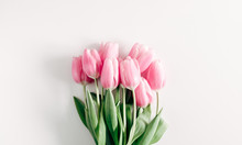 Flowers Composition Romantic. Pink Flowers Tulips On White Background. Wedding. Birthday. Happy Woman's Day. Mothers Day. Valentine's Day. Flat Lay, Top View, Copy Space