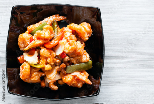top view of Shrimps Combo in bowl on gray table