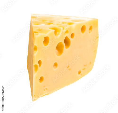 triangular slice of yellow semi-hard swiss cheese