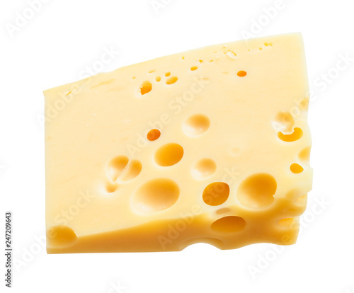 triangular hunk of yellow medium-hard swiss cheese