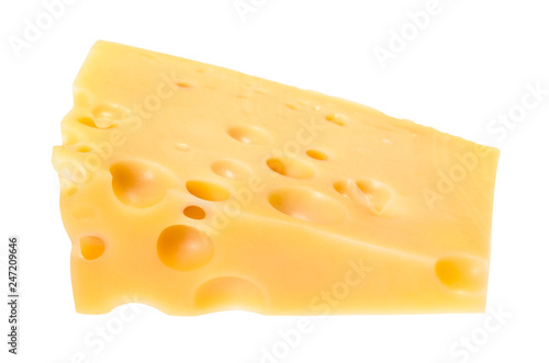 triangular piece of yellow swiss cheese isolated