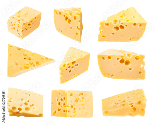 set from pieces of yellow medium-hard swiss cheese