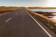 Asphalt road in Mongolian steppe along a small lake