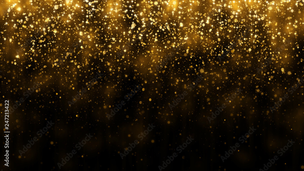 Fototapeta Background with falling golden glitter particles. Falling gold confetti with magic light. Beautiful light background