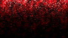Red Background With Falling Glitter Particles. Beautiful Festive Sparkling Background. Falling Shiny Particle Bokeh With Magic Light. Valentines Day