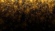 Background With Falling Golden Glitter Particles. Falling Gold Confetti With Magic Light. Beautiful Light Background
