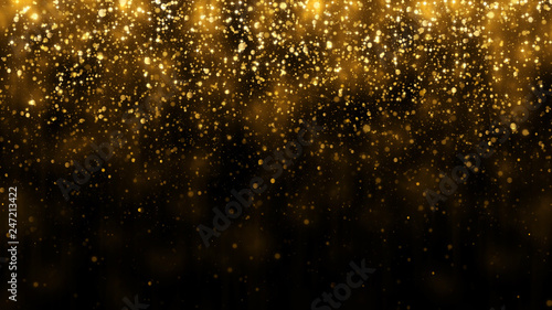 Fototapeta Background with falling golden glitter particles. Falling gold confetti with magic light. Beautiful light background obraz