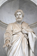 Saint Peter Statue In Front Of The Basilica Of Saint Paul Outside The Walls, Rome, Italy