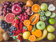 Assorted Fruits And Berries Top View.Vitamins And Antioxidants Food Concept Rainbow.