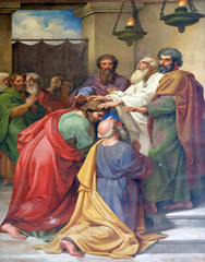 The fresco with the image of the life of St. Paul: Saul and Barnabas laying on of hands, basilica of Saint Paul Outside the Walls, Rome, Italy