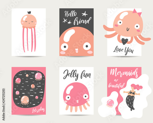 Photographie  Cute hand drawn anime style cards, brochures, invitations with jellyfish
