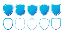 Set Of Flat Blue Shields With Contours. Vector Illustration Isolated On White Background.