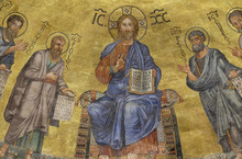 The Icon On The Dome With The Image Of Jesus Christ And The Apostles On A Gold Background In The Basilica Of Saint Paul Outside The Walls, Rome, Italy
