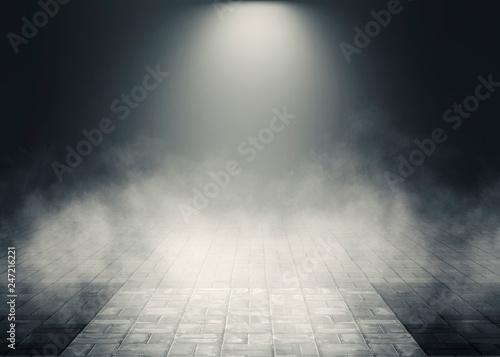 In de dag Theater Background of empty room, street. Concrete floor, paving slabs. Neon light, smoke, smog