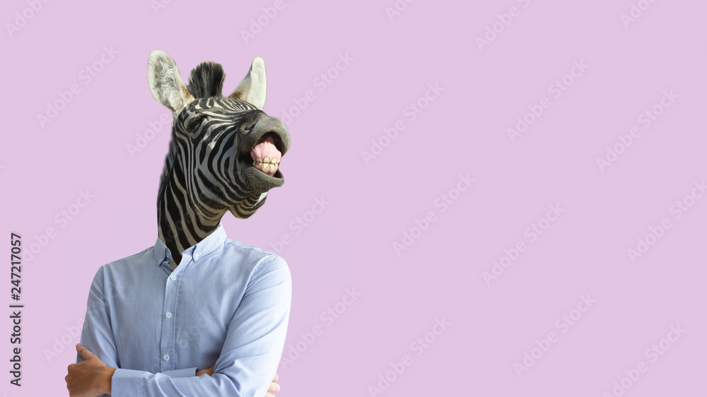Fototapety, obrazy: Contemporary art collage. Funny laughing zebra head on human body in business shirt. Clip art, negative space.
