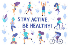 Healthy Lifestyle. Different Physical Activities: Running, Roller Skates, Dancing,  Yoga, Fitness, Scooter, Nordic Walking. Flat Vector Illustration.