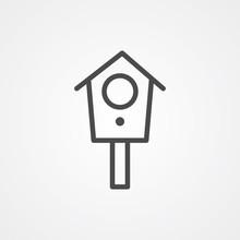 Bird House Vector Icon Sign Sy...