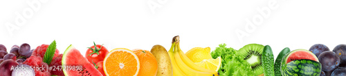 Poster Cuisine Collage of mixed fruit and vegetable