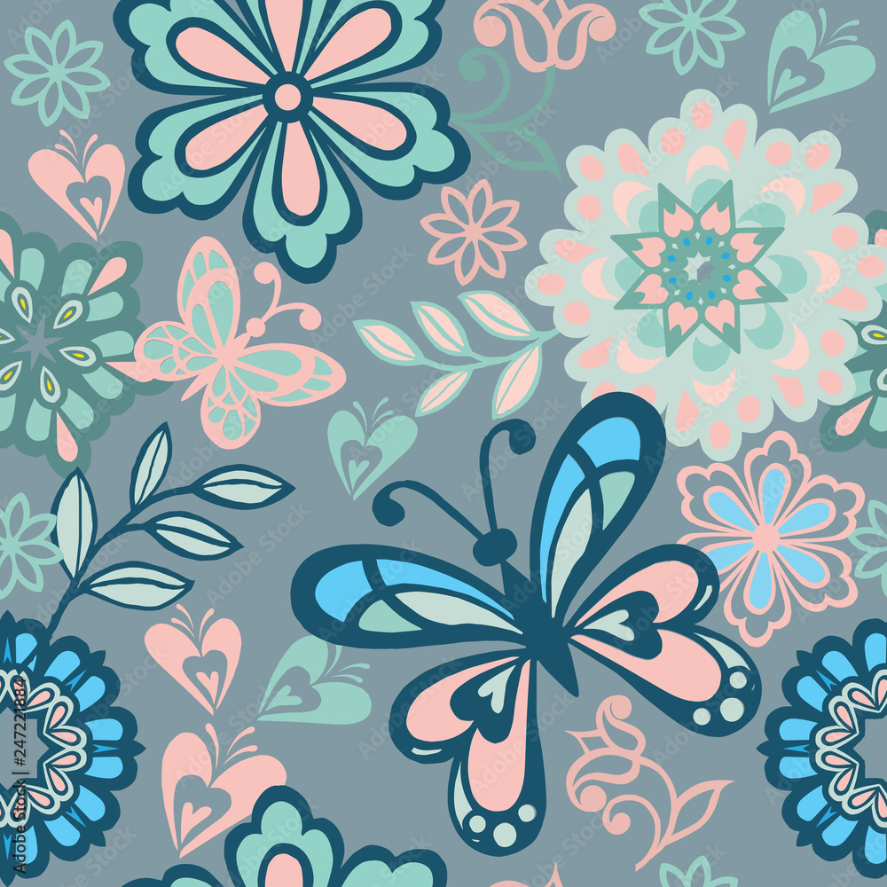 Folk floral seamless pattern with blue and pink butterflies. Vintage flowers ornament with butterflies in blue colors. Decorative ornament backdrop for fabric, textile, wrapping paper