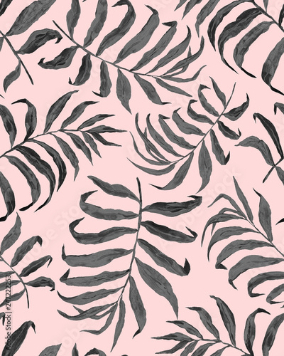 Fototapety, obrazy: Tropical leaf pattern. Exotic seamless pattern with tropical leaves. Ethnic background with Hawaiian plants.