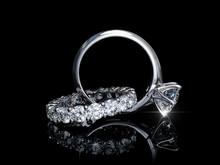 Interwoven Solitaire Diamond Engagement Ring, Eternity Wedding Band On Black Background