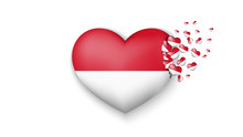 With Love To Indonesia Country. The National Flag Of Indonesia Fly Out Small Hearts On White Background