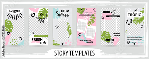 Fotografie, Obraz  Trendy editable template for social topical networks stories, vector illustration