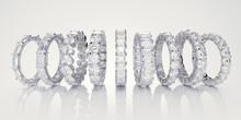 Multiple Diamond Eternity Rings On White Background