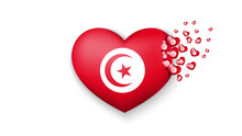 National Flag Of Tunisia In Heart Illustration. With Love To Tunisia Country. The National Flag Of Tunisia Fly Out Small Hearts On White Background