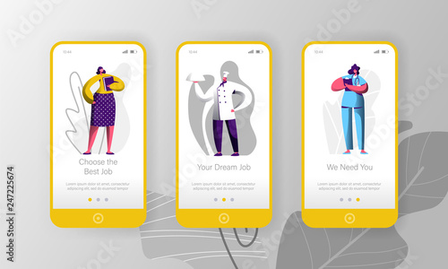 Different Job Vacancy Hiring Opportunity Character Mobile App Page Onboard Screen Set Chef And Doctor Career Opportunity Job Fair People Concept Website Or Web Page Flat Cartoon Vector Illustration Buy This