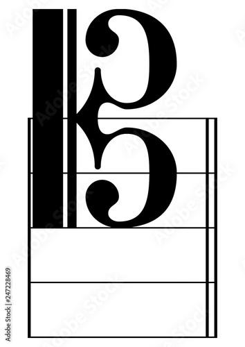 c clefs, treble, classical, key,color, baritone clef Wallpaper Mural