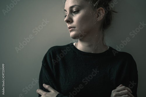 Portrait of young sad woman with anxiety disorder, anorexia ans loneliness conce Fototapeta
