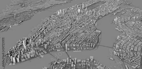 Photo  Vista satellitare delle città di New York City, mappa della città, edifici in 3d, 3d rendering