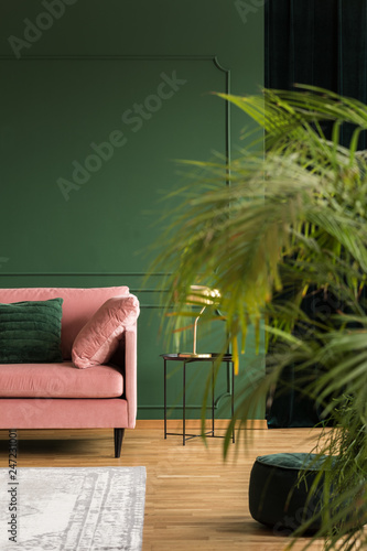 Fotografie, Obraz  Vertical view of elegant green living room with patel pink couch, coffee table a