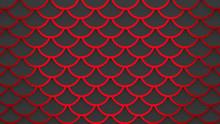 Red Fish Scales Dark Gray Pattern Marine Background 3D Illustration