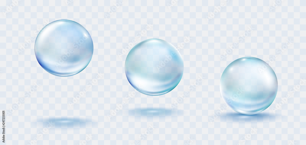 Fototapeta Collagen droplets set isolated on transparent background. Realistic vector clear dews, blue pure drops, water bubbles or glass balls template.
