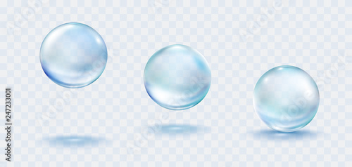 Obraz Collagen droplets set isolated on transparent background. Realistic vector clear dews, blue pure drops, water bubbles or glass balls template. - fototapety do salonu