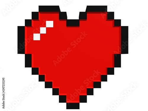 Photo 8 bits Heart | Red | pixel