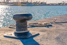 Ship Bollard And Rope. Harbor.