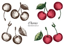 Set Of Red Cherries With Leaves. Hand Drawn Vector Illustration. Isolated Elements For Design.