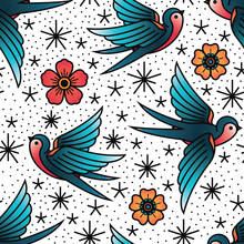 Oldschool Traditional Tattoo Vector Birds And Flowers Pattern