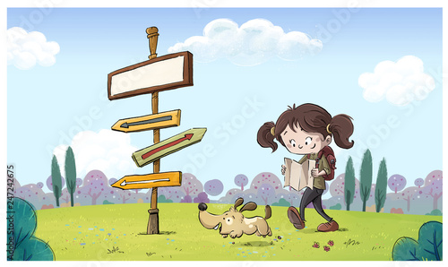 niña exploradora en el campo con señal Wallpaper Mural