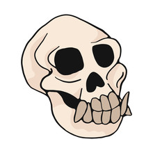 Animal Monkey Skull Cartoon Vector Illustration Motif Set. Hand Drawn Isolated Ape Bone Elements Clipart For Nature Blog, Natural History Bone Skeleton Graphic, Anatomy Education Web Buttons.