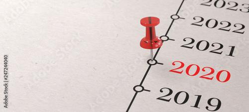 Cuadros en Lienzo 2020 - Rote Pinnadel auf Zeitleiste
