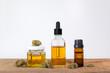 canvas print picture - Medikament CBD Cannabis als Medizin und Hanf als Öl in Glas Flasche