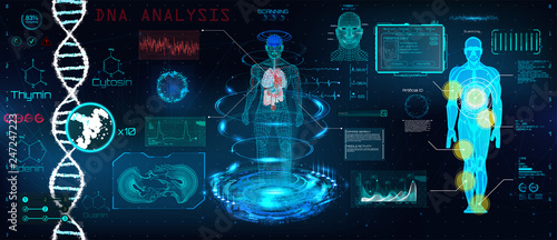 Fototapeta Healthcare futuristic scanning in HUD style design, Human body, organs and brain scan with pictures. Hi-tech elements. Virtual graphic touch HUD UI with illustration of DNA formula and data chart obraz