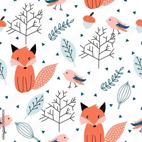 Seamless pattern with forest animals.